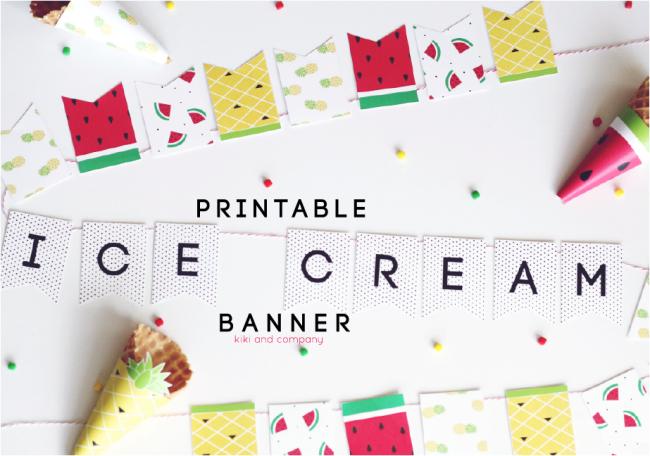 Printable Ice Cream Banner.