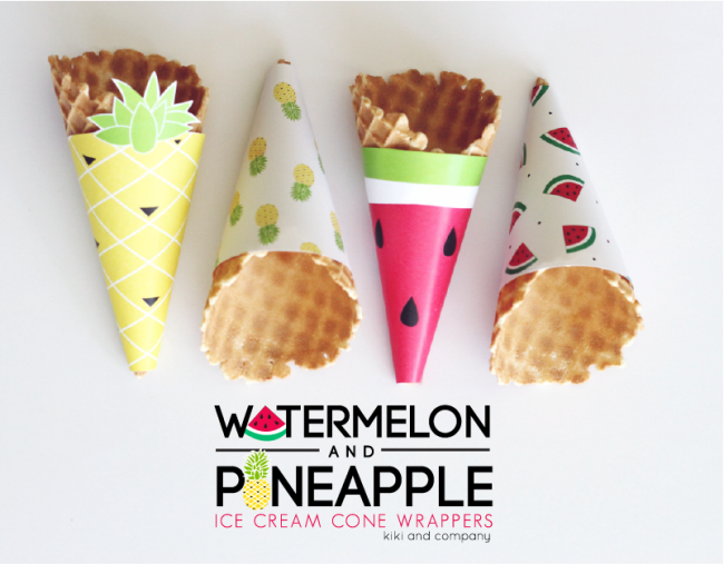 Watermelon and Pineapple Ice Cream Cone Wrappers. LOVE!