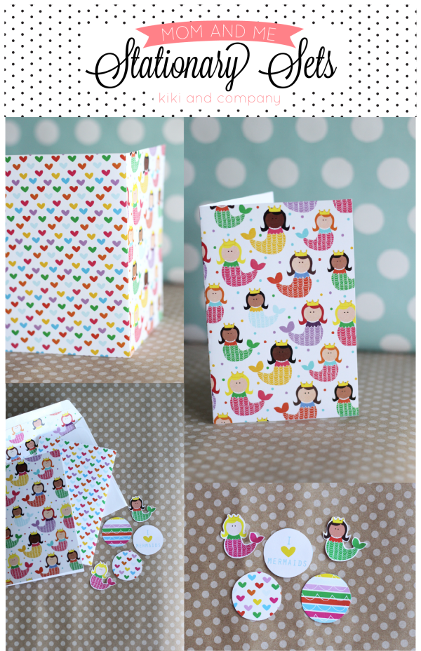Free Mom and Me Stationary Sets from Kiki and Company. Mermaids and Heart set.