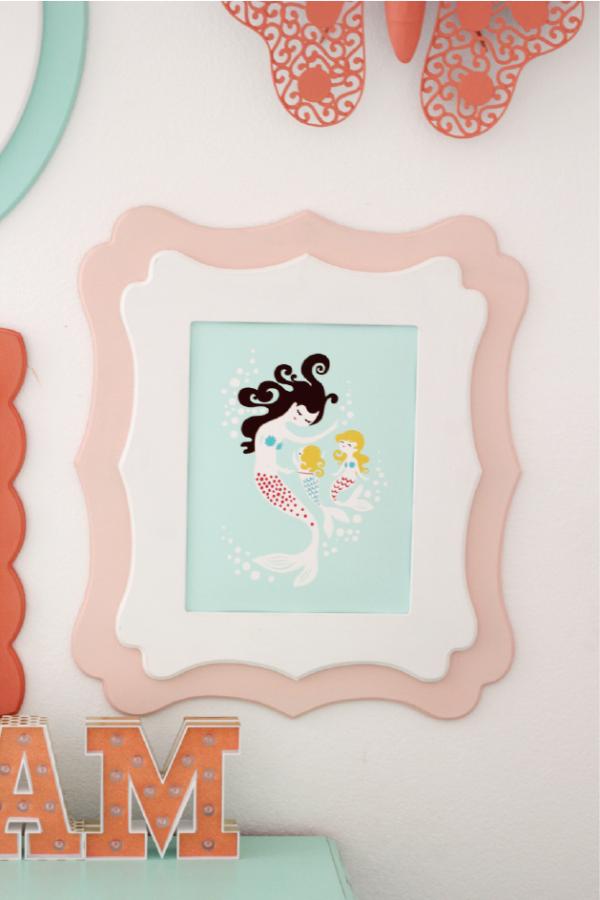 Girl's Room Gallery Wall at kiki and company. Mermaid print.