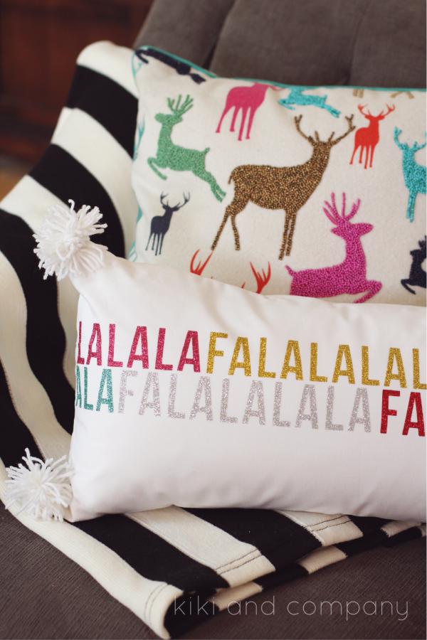 Fa la la la pillow from kiki and company. #expressionsvinyl Cute pillow.