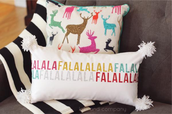 Fa la la la pillow from kiki and company. #expressionsvinyl Love this!