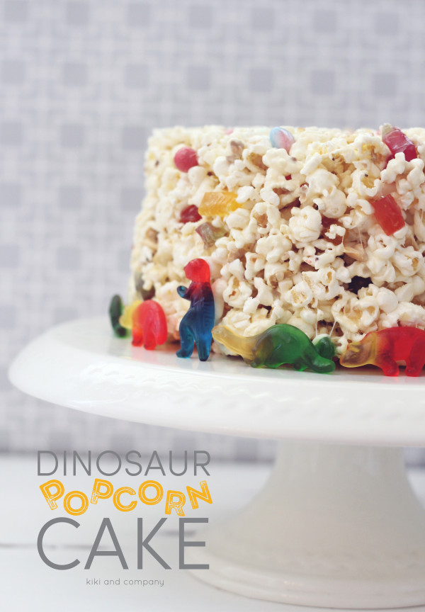 Dinosaur Popcorn Cake at kiki and company