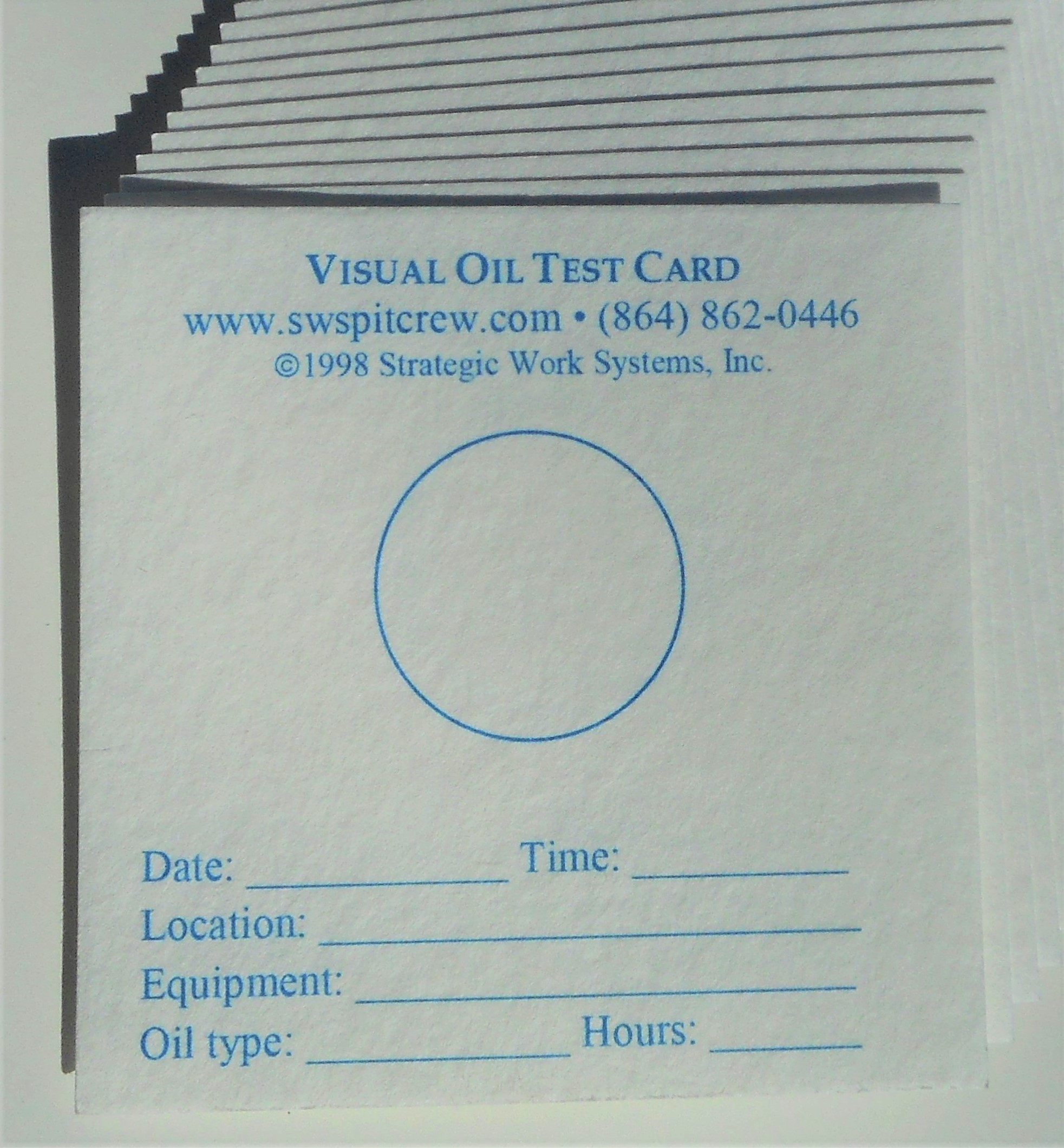 Visual Oil Test Cards