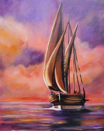 Purple Sail - Lolli Hollsten - 24'' x 30'' - Acrylic on Canvas