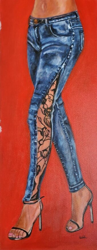 Stepping Out - Lolli Hollsten - 16'' x 40'' - Acrylic on Canvas