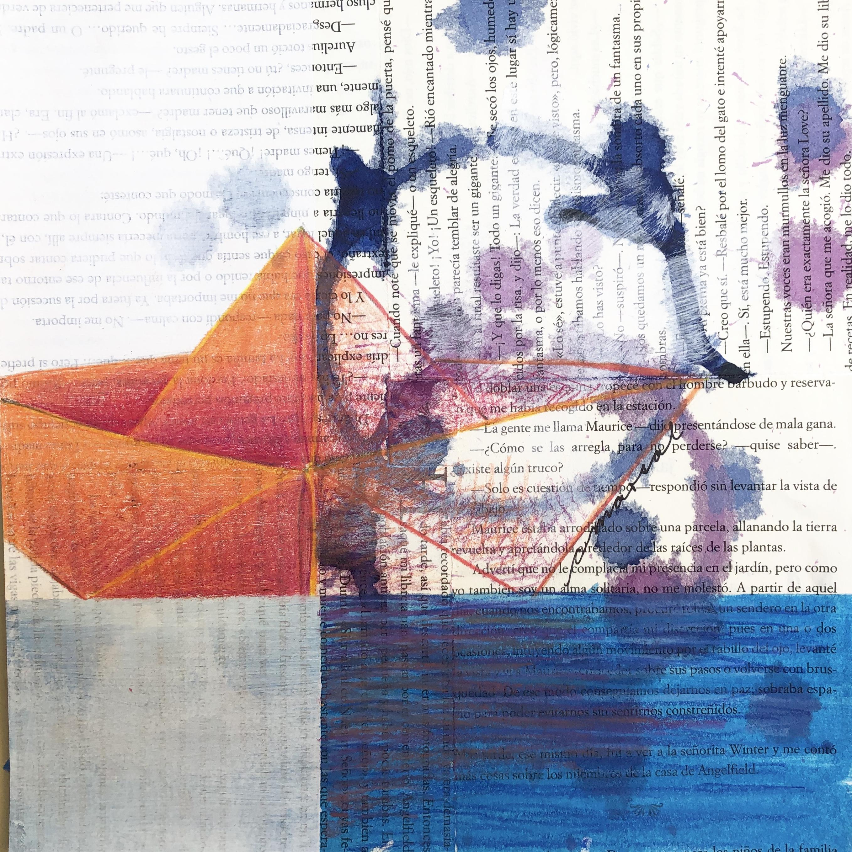 De Viaje / Traveling - Angeles Salinas - 8'' x 8'' - Mixed Media on Paper