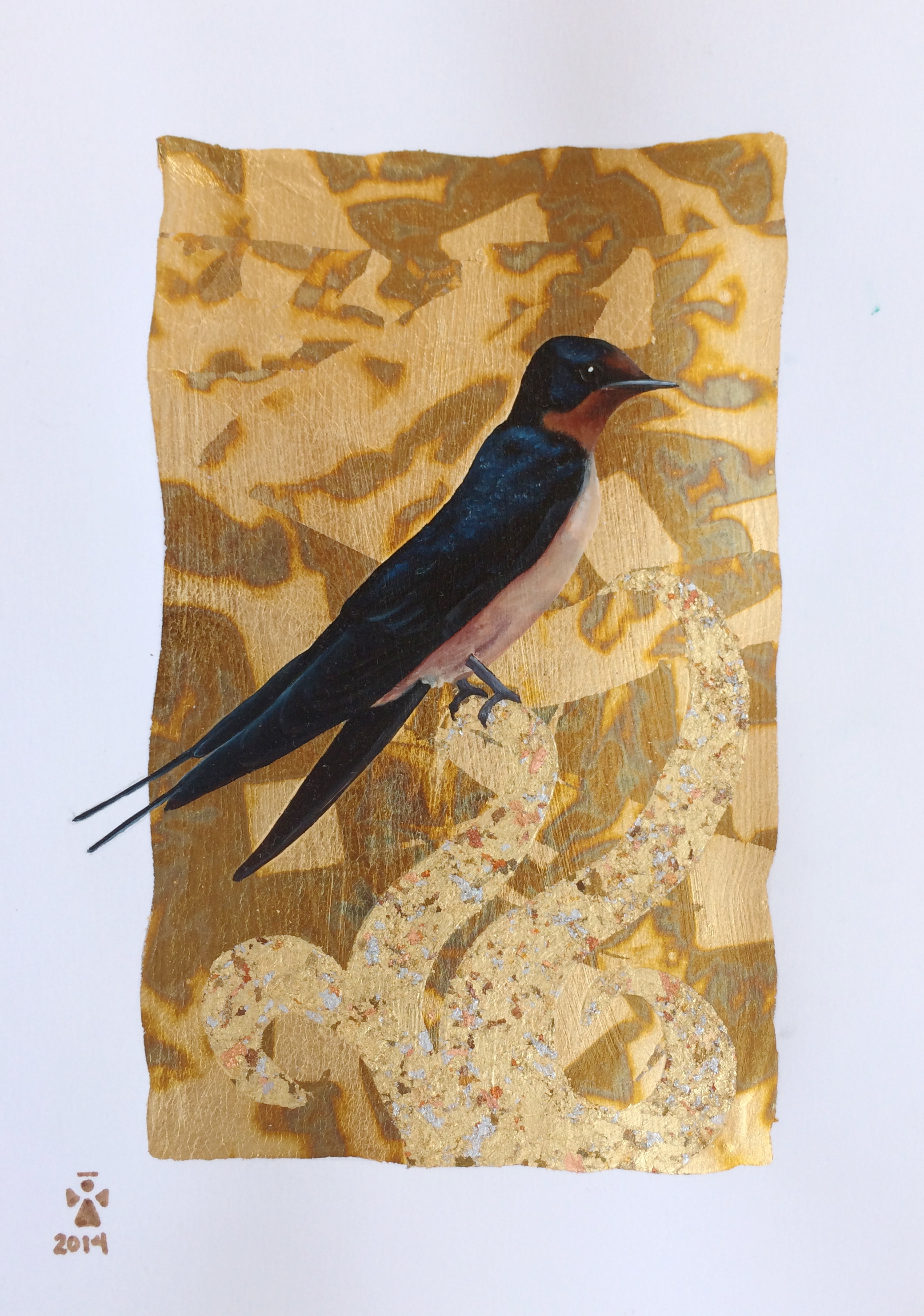 Swallow bird 2 - Angeles Salinas - 12'' x 18'' - Mixed Media on Paper