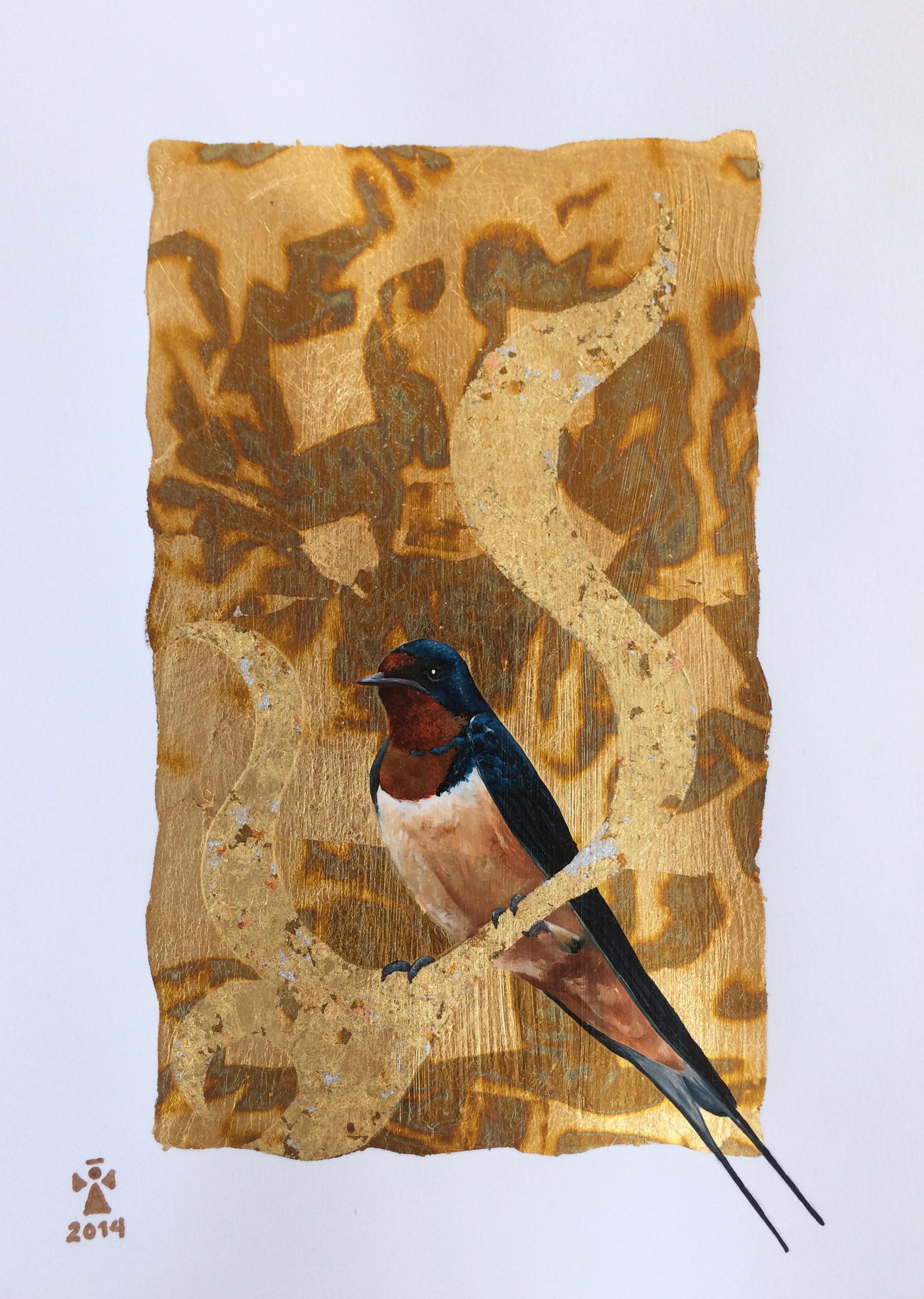 Swallow bird - Angeles Salinas - 12'' x 18'' - Mixed Media on Paper