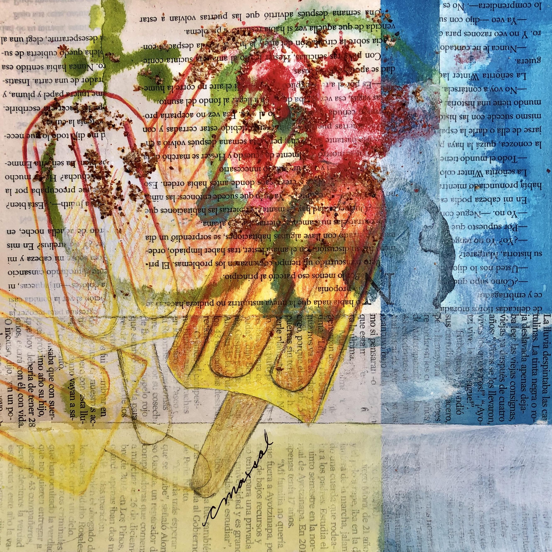 Verano / Summer - Angeles Salinas - 8'' x 8'' - Mixed Media on Paper