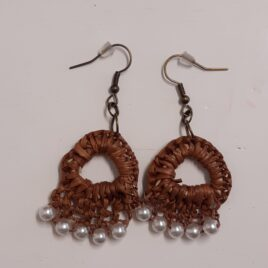 No 8. Earring – Brown with pearls.