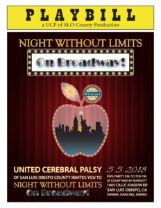 Flyer for UCP's 2018 Night Without Limits - On Broadway