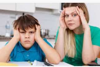 Parent and child, frustrated, grasping their heads in frustration
