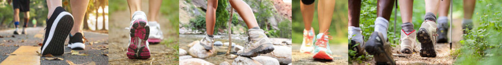 Various pictures of people's legs and shoes hiking and walking through nature
