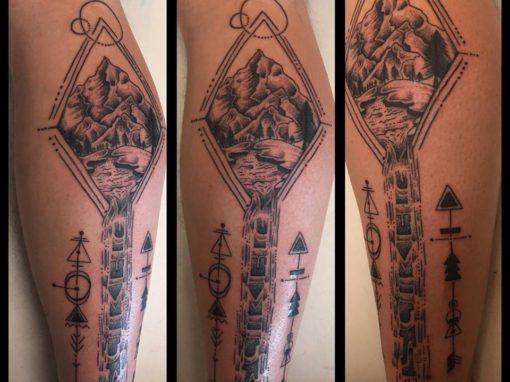 Mountain Scene Tattoo