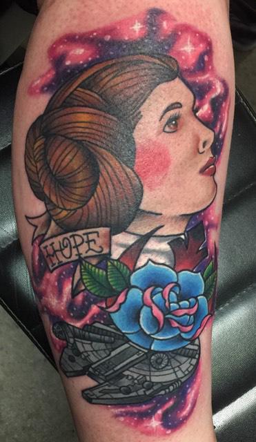 Princess Leia Starwars Tattoo Longmont tattoo artist Mick Minyard Colorado tattoo star wars