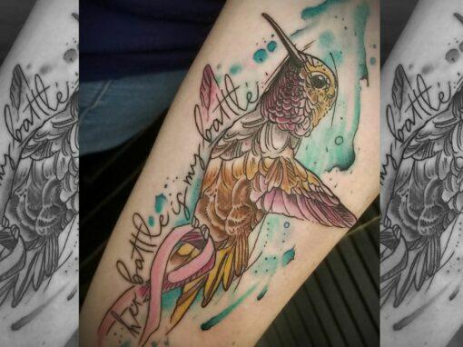 Humming Bird Ribbon Tattoo