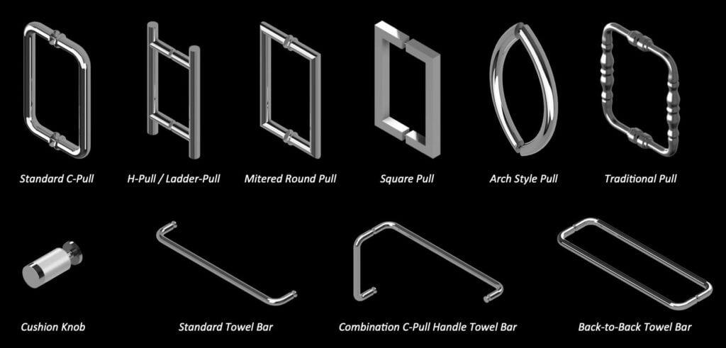 Through Glass Handle and Towel Bar Options