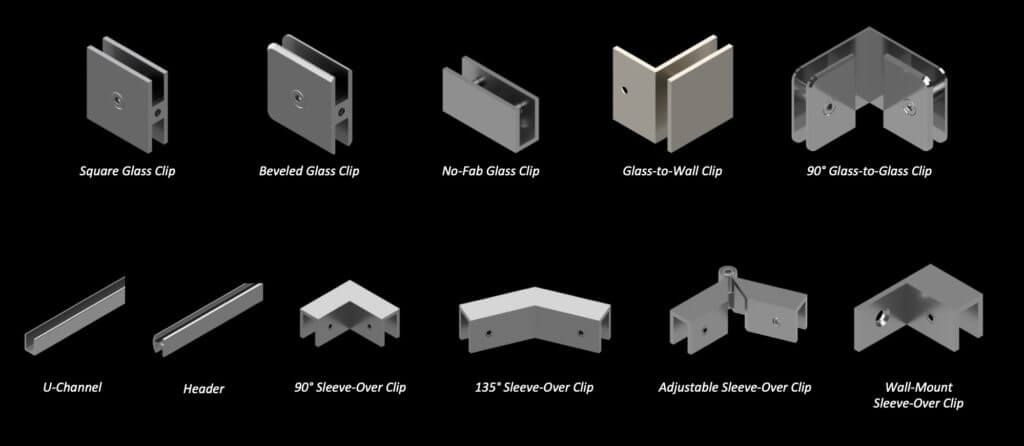Heavy Glass Hinges and Clips Options
