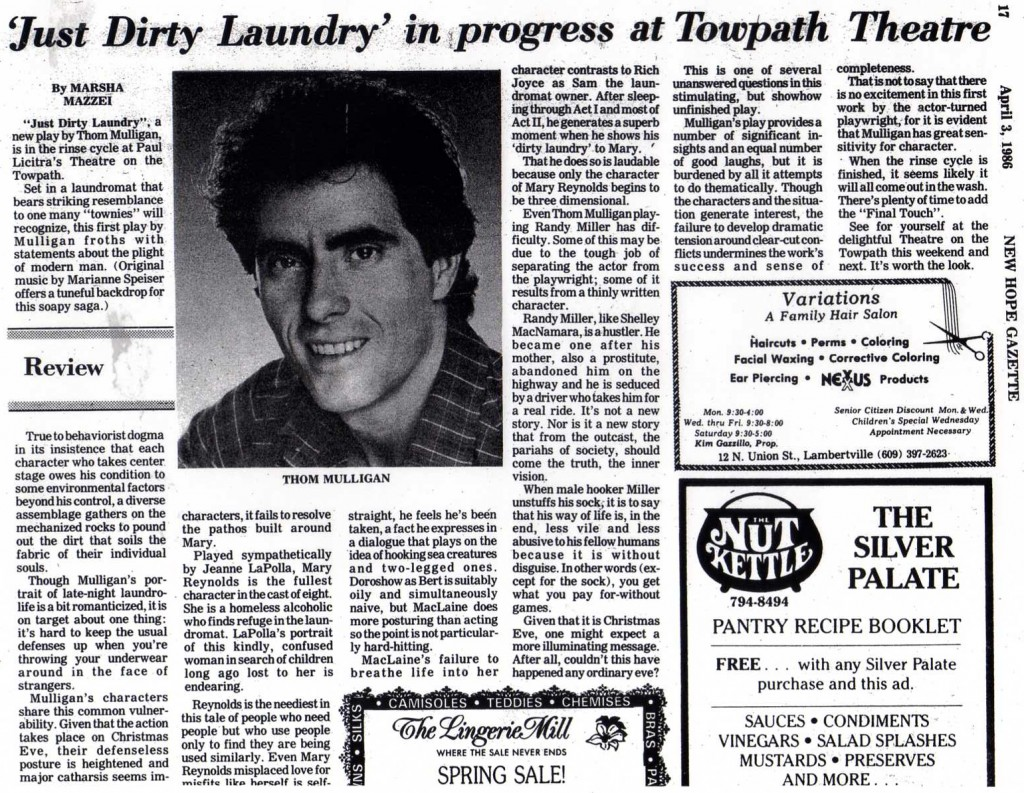 New Hope Gazette - April 3, 1986 Towpath Theatre running 'Just Dirty Laundry'