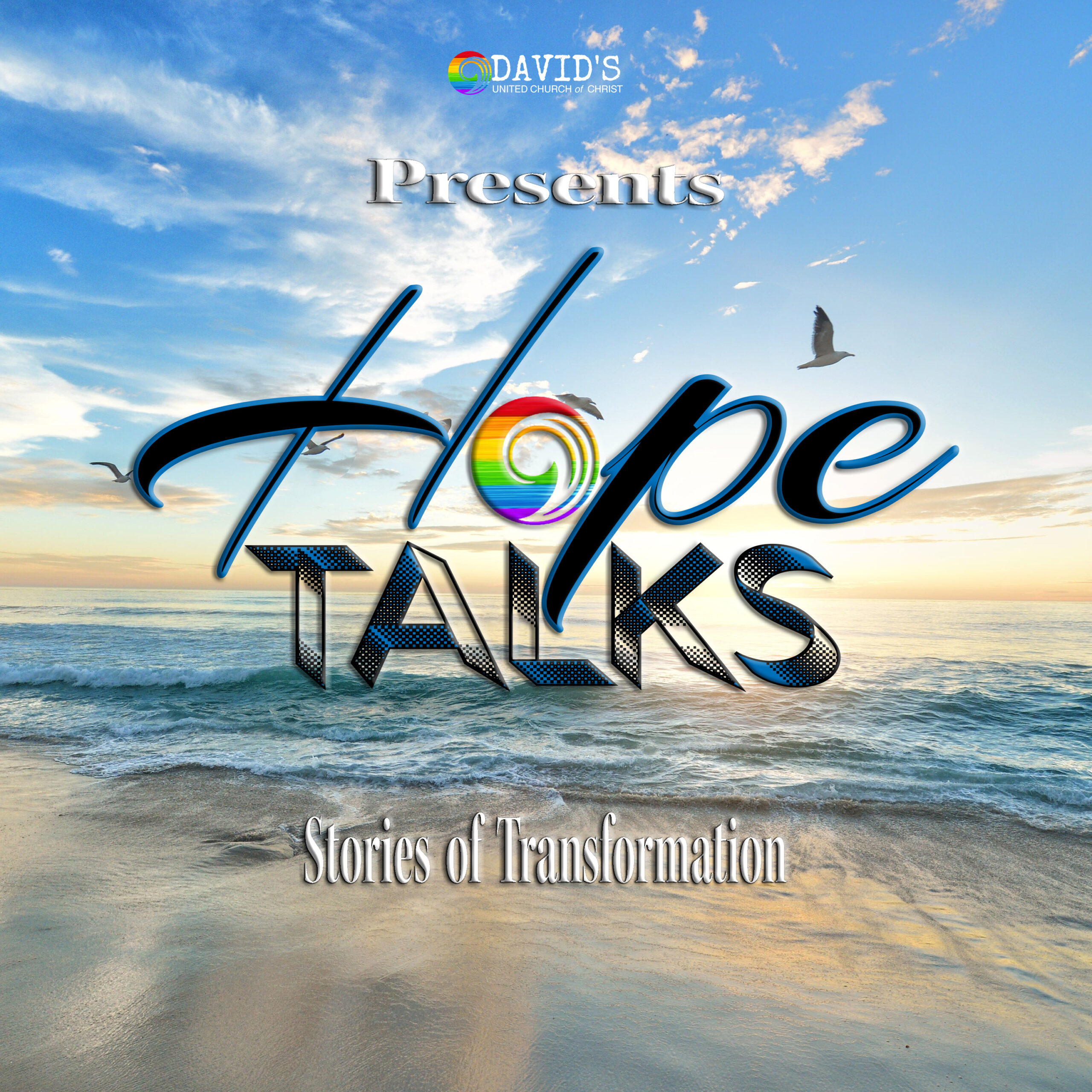 Hope Talks Podcast Cover with scene of a beach at sunrise with birds flying towards the sun.