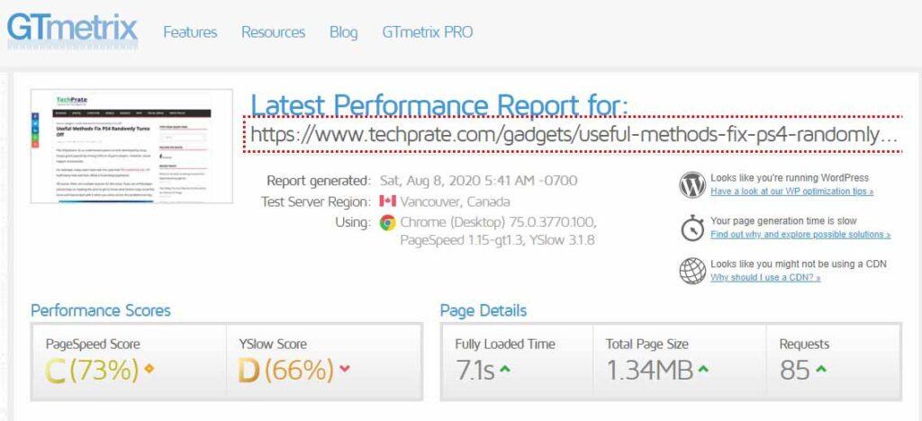 GTmetrix SEO Tool