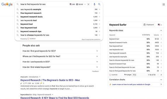 Keyword Surfer SEO Tool