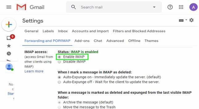 IMAP Access Section