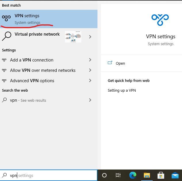 Search VPN in the Windows search box