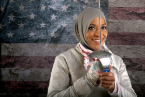 BEVERLY HILLS, CA - MARCH 09: Fencer Ibtihaj Muhammad poses for a portrait at the 2016 Team USA Media Summit at The Beverly Hilton Hotel on March 9, 2016 in Beverly Hills, California. (Photo by Sean M. Haffey/Getty Images)
