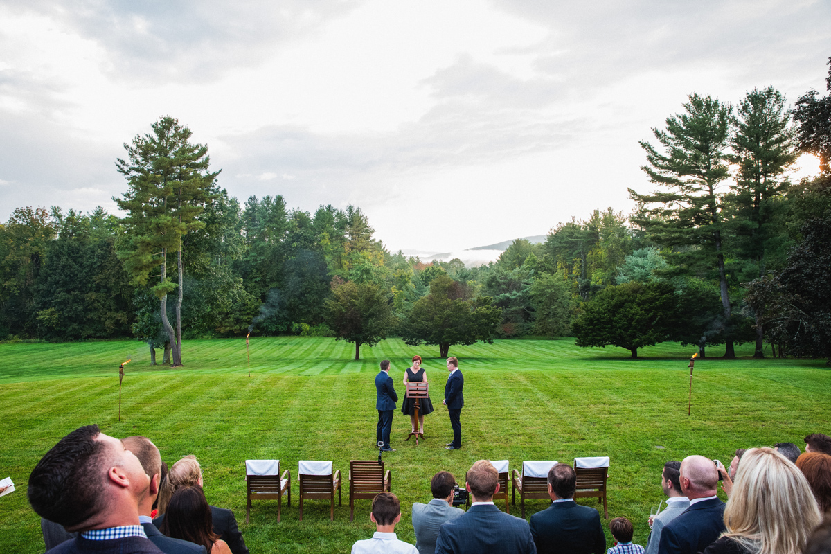 wedding ceremony at the wheatleigh hotel in lenox MA