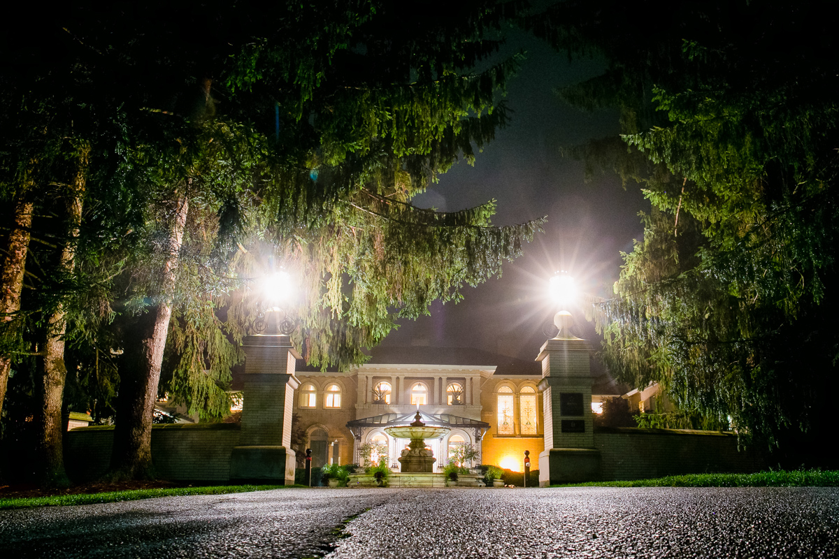 outside at night at the wheatleigh hotel in lenox MA