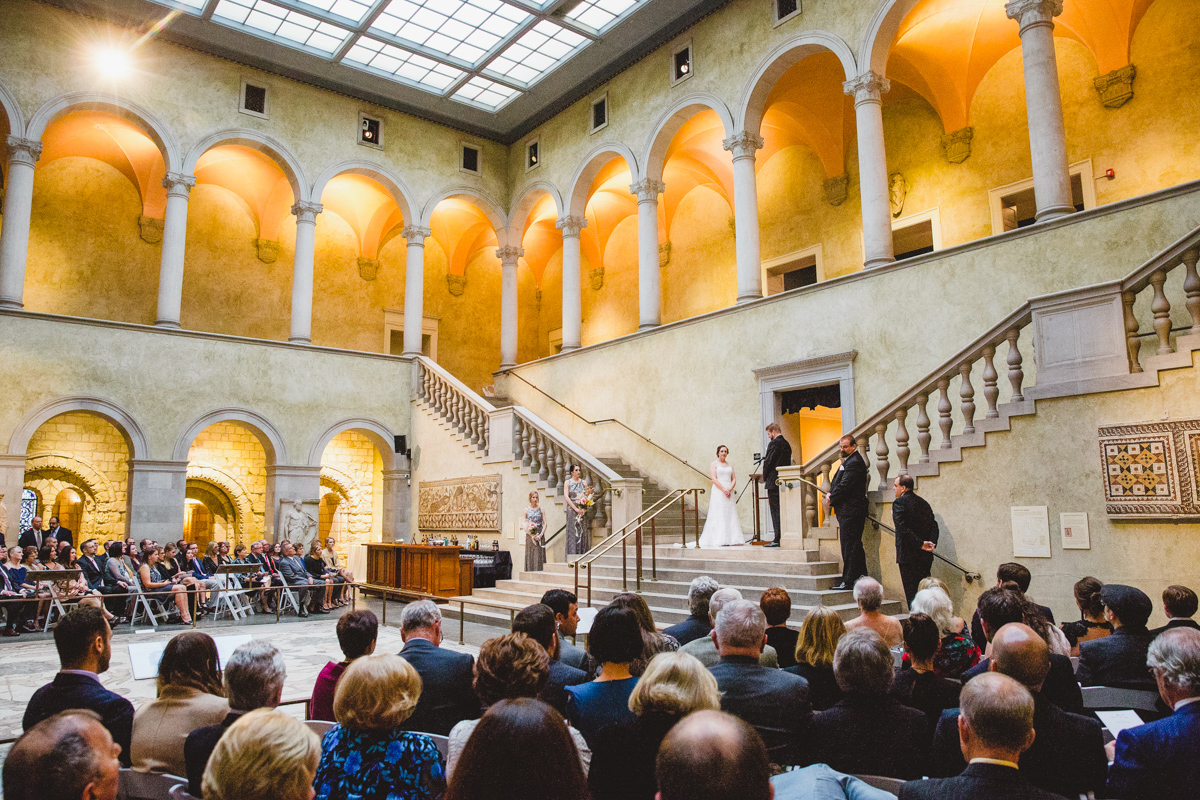 wedding on the staircase at the worcester art museum