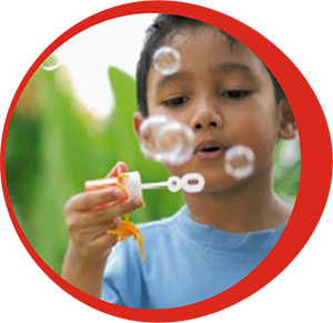 Child-Playing with bubbles