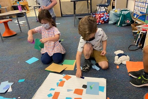 Preschool children doing projects