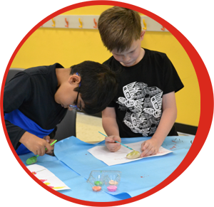 Grade 1 students doing art work