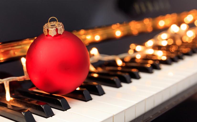 piano keys christmas lights ornament