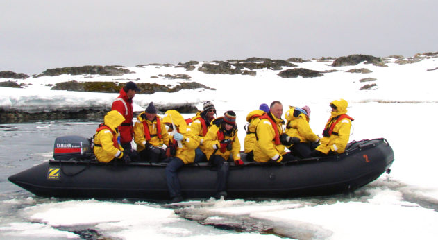 Grandpa Whyte (second from right on Port side of boat) seeing first hand the effect of global warming on the frozen wilderness, Antarctica