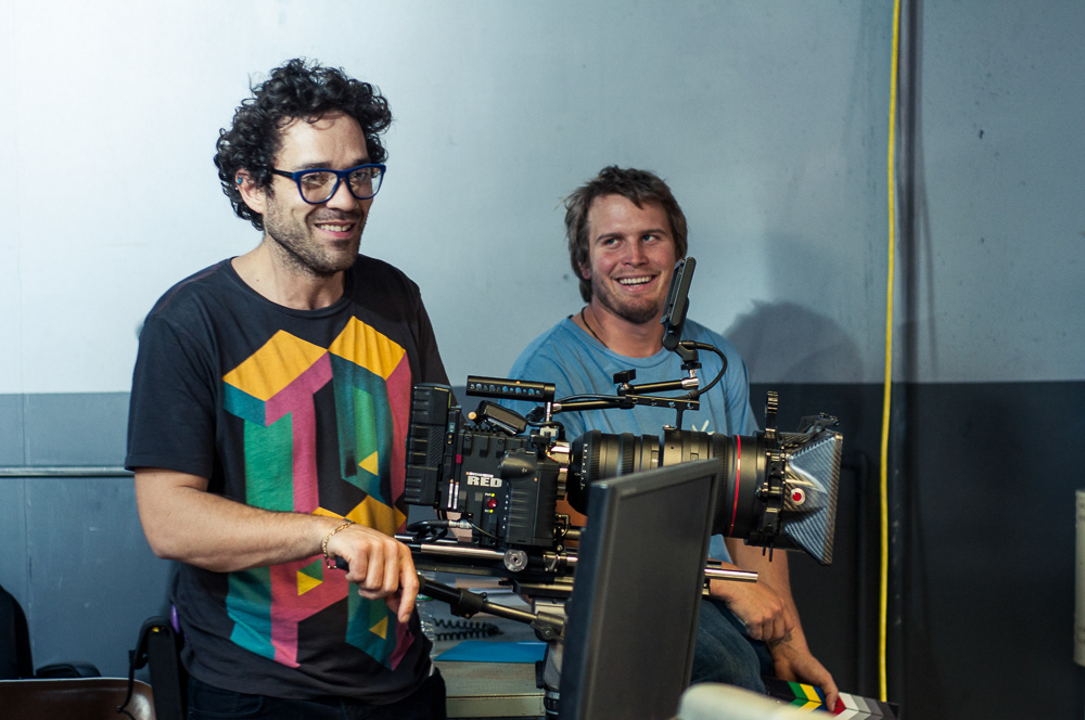 Filmmakers behind a camera