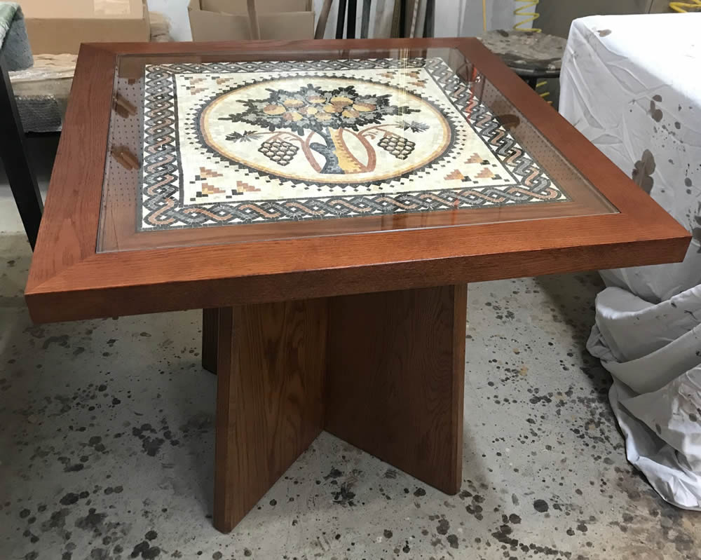 Custom oak table with mosaic inset