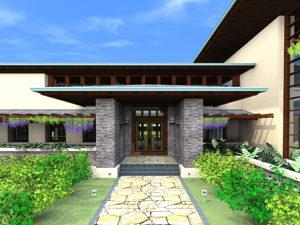 Entry of Golden Gate Prairie custom home design