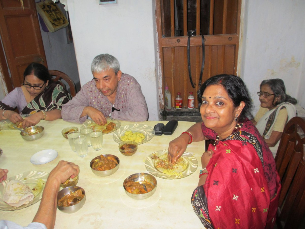 Mukti and Partha enjoying lunch in Rajpur, West Bengal