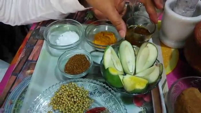 Mango pickle in the making