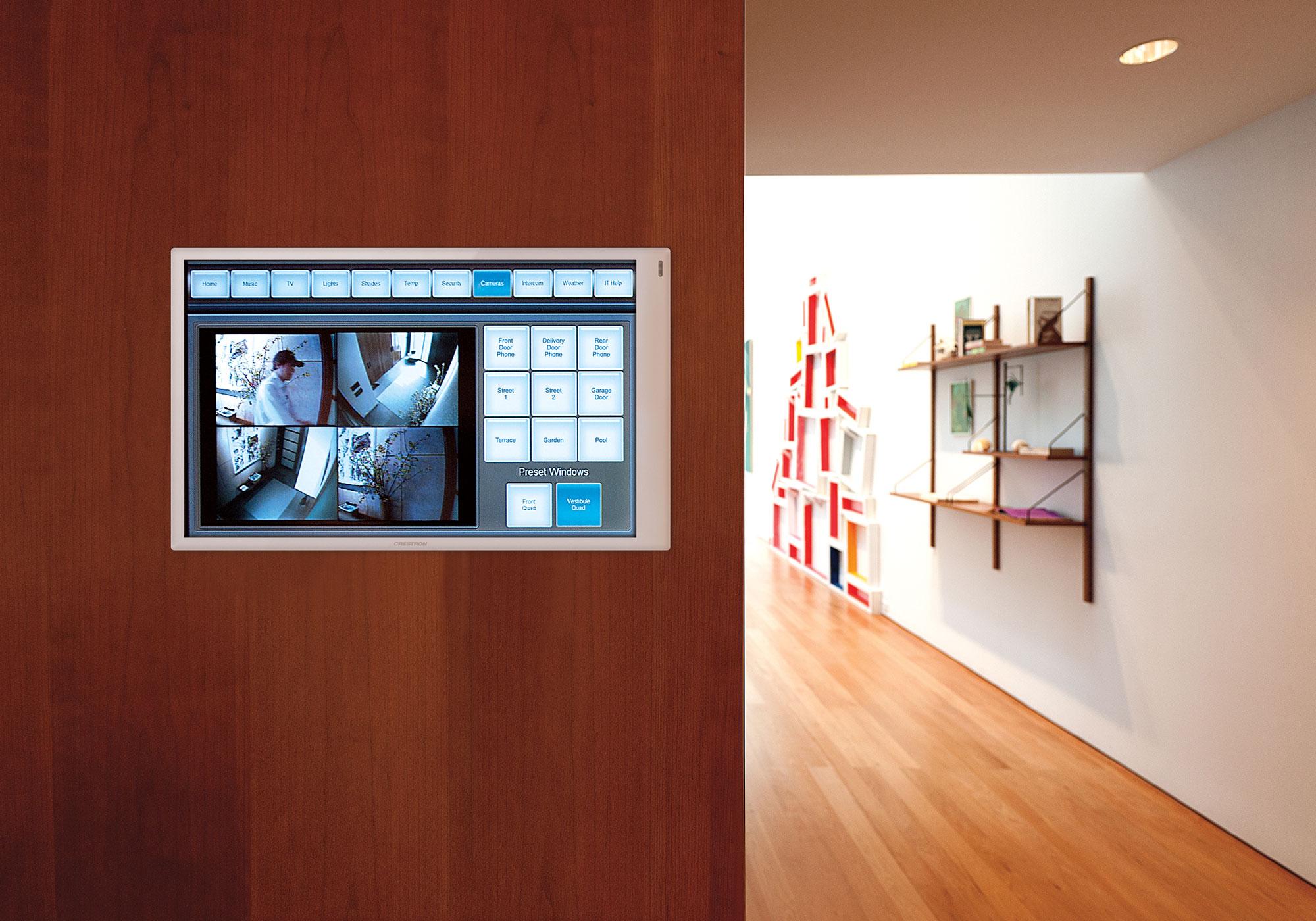 media room, touchscreen, wall-mount touchscreen, cameras screen