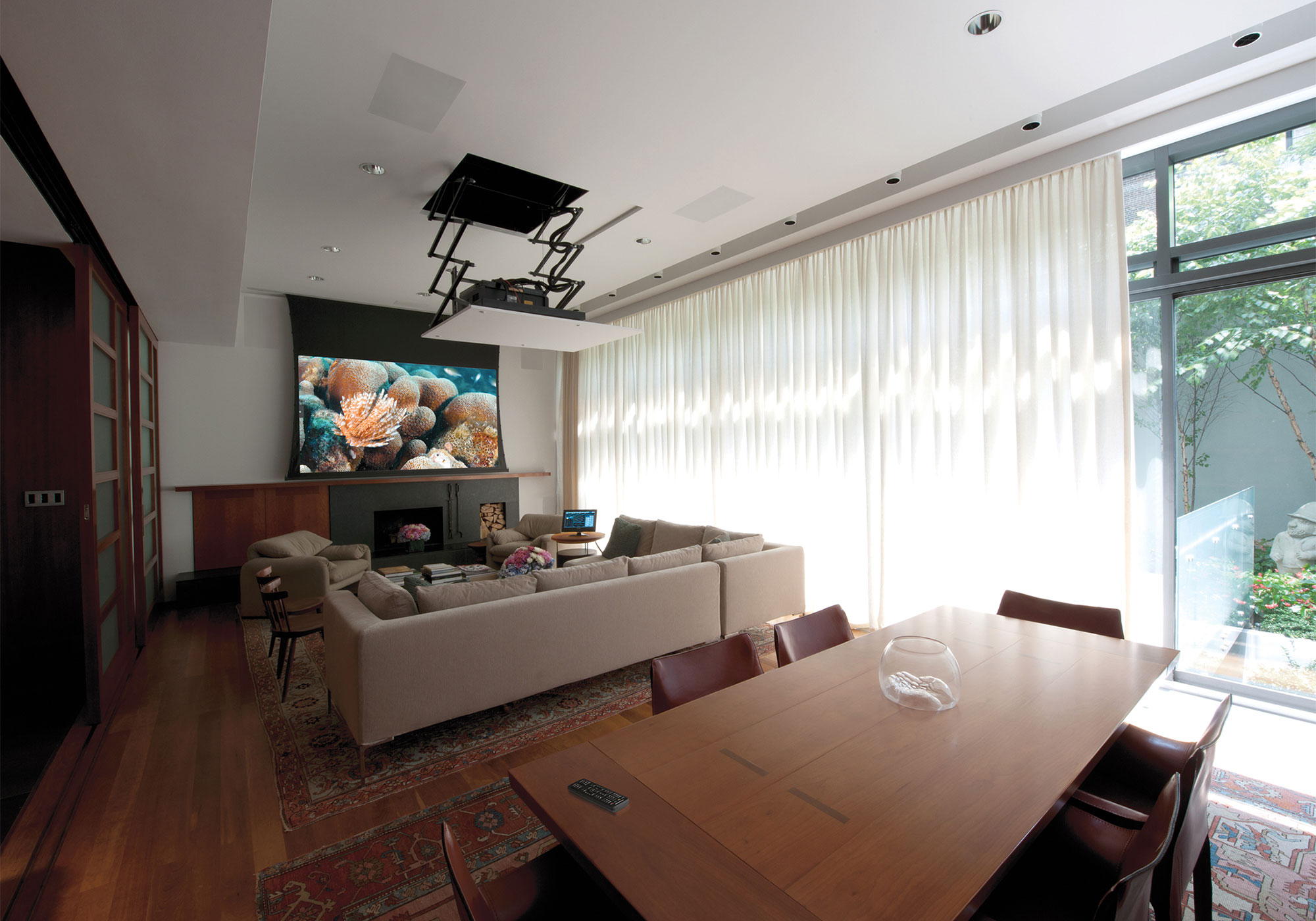 Living Room, media room, theater, projection system, movie screen, motorized, lift, draperies