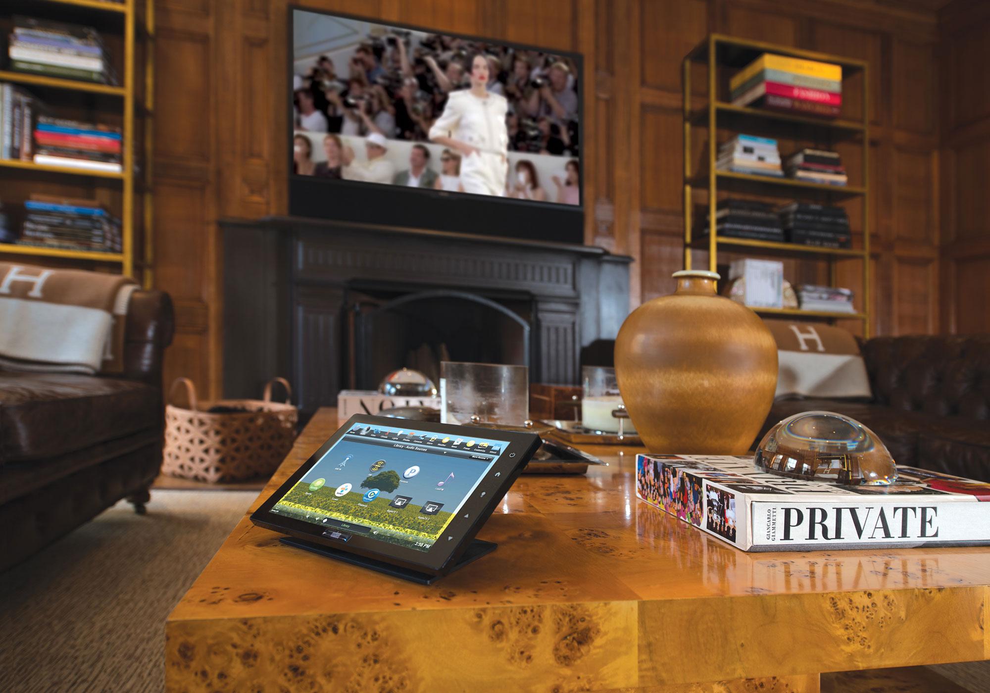 living room, media room, library, TV, soundbar, touchscreen, tabletop touchscreen, audio screen