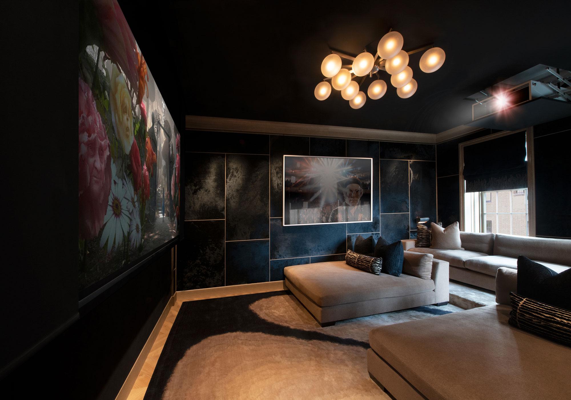 media room, tv, shades, blackout shades