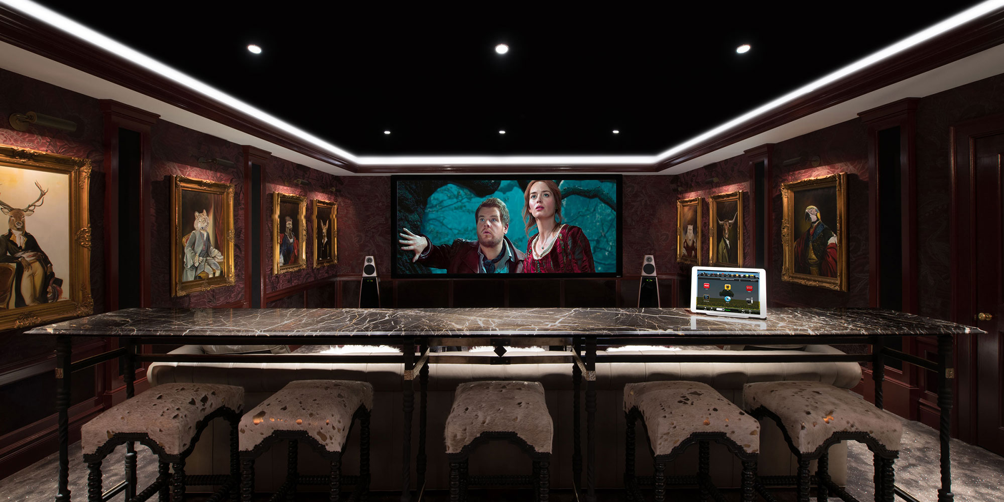 Theater, projection system, movie screen, speakers, surround sound, freestanding, iPad, video screen, LED lighting, alcove,