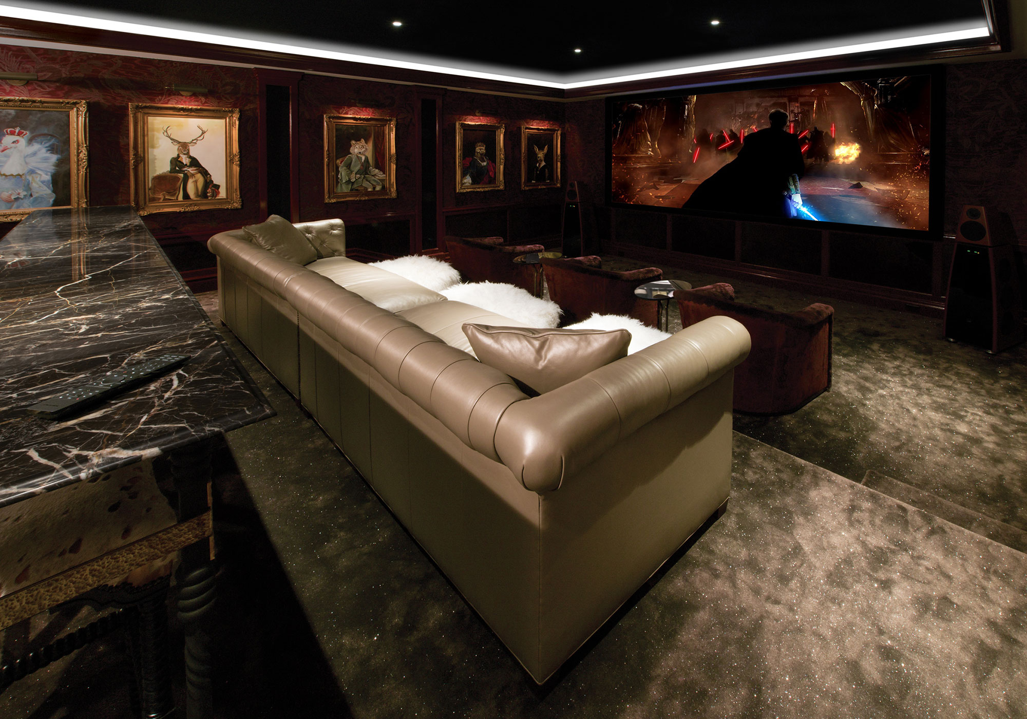 Theater, projection system, movie screen, speakers, surround sound, freestanding, LED lighting, alcove,