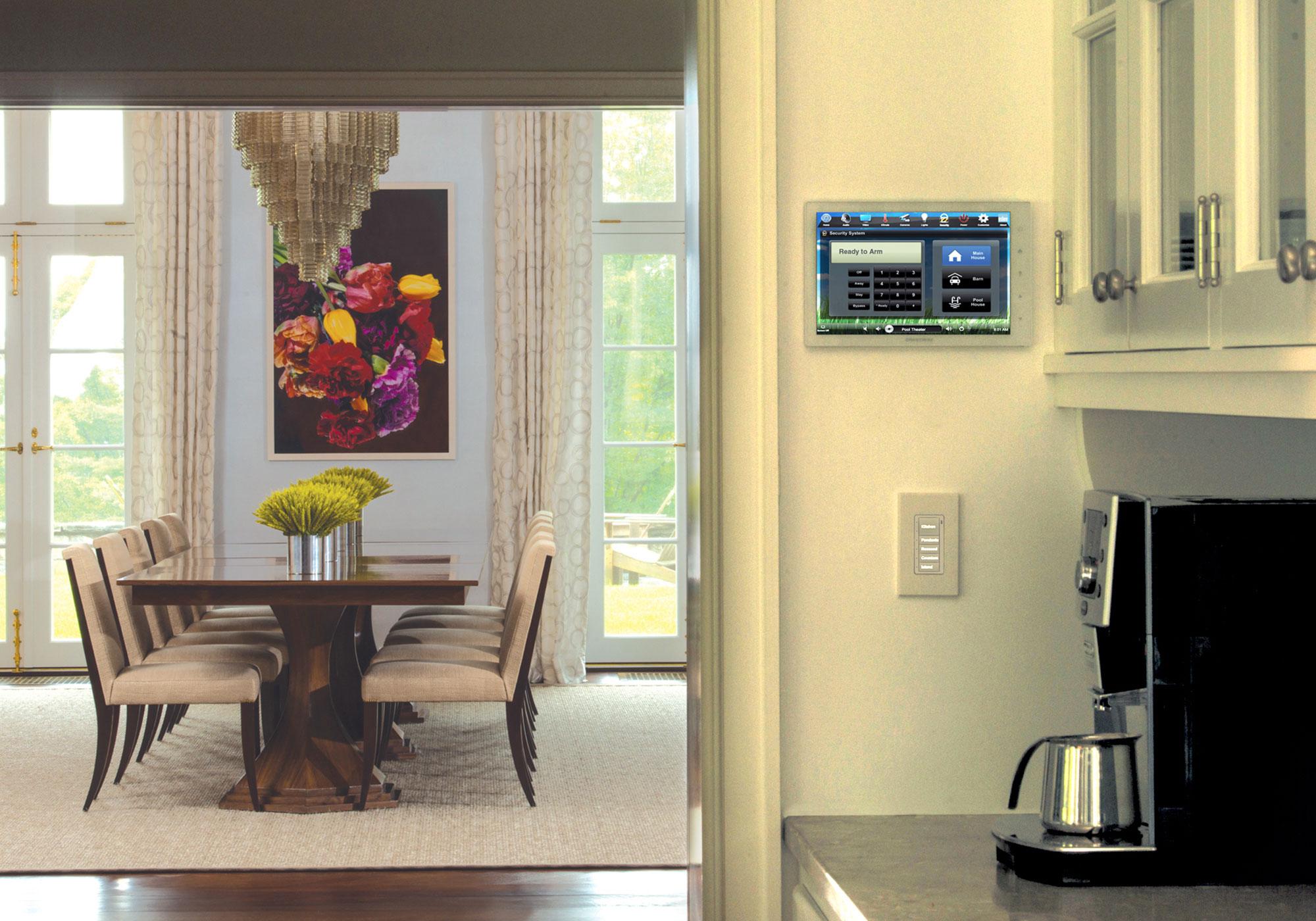 kitchen, dining room, touchscreen, wall-mount touchscreen, alarm screen, keypad